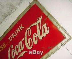 100% ORIGINAL 1938 Vintage PAUSE. DRINK COCA COLA Old Graphic 59x35 inch Tin Sign