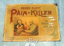 1800s Paper-on-TIN SIGN Antique vtg Perry Davis PAIN-KILLER Medicine Opium Drugs