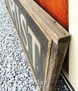 1910s Antique vtg 58 DENTIST Trade Sign Sand Painted TIN Primitive Wood Frame