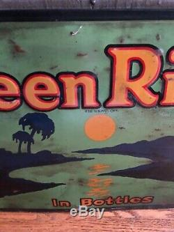 1919 Green River Soda Sign Embossed Tin Metal Prohibition 19 Chicago Vintage