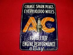 1920-30's Ac Spark Plugs Tin Sign Vintage Change Miles Rare, Antique Wow