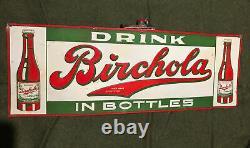 1920s BIRCHOLA SODA ORIGINAL VINTAGE METAL SIGN EMBOSSED Beauty! Tin Tacker
