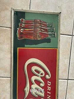 1930 Vintage Original Tin Drink Coca Cola Sign 3 Bottles Sign 54 X 19