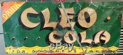 1930s Vintage Metal RARE Cleo Cola Sign Original Embossed Soda Tin Tacker Coke