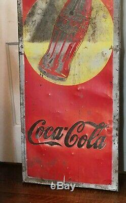 1930s Vtg Drink Coke Tin Metal POP Soda Sign Gas oil Feed Seed Pause Coca Cola