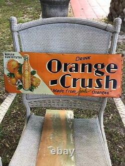 1932 vintage orange crush Embossed tin sign Original