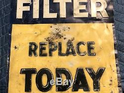 1935 AC OIL FILTERS Embossed Tin SIGN VINTAGE Gas Station Car ANTIQUE OLD & RARE
