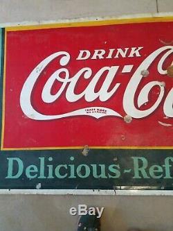 1937 Ultra Rare Vintage Coca Cola Tin Sign 72 x 30 Coke dated 2/37 FREE SHIP