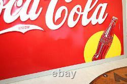 1940 Original Vintage Embossed Coca Cola Tin Sign 19.5 x 27