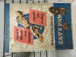 1940's Embossed Tin Sign Cats Paw Shoe Repair Vintage Advertising ww2 Boots Heel
