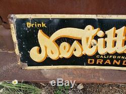1940s Vintage Nesbitt's Orange Soda Old Embossed Tin Sign advertising pop