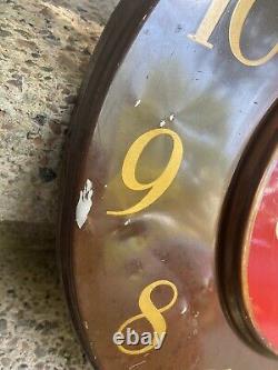 1950's Vintage Coca-Cola Art Deco Tin Advertising Clock Sign Coke 18 Round