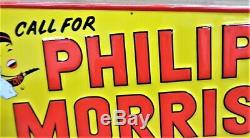 1950's Vintage Philip Morris Cigarette Tobacco Embossed Tin Advertising Sign