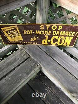 1950s Vintage D-CON RAT & MOUSE POISON Old General Store Tin Sign