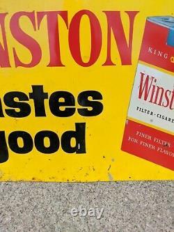 1950s Vintage Winston Cigarette Tastes Good Tin Sign No. 178 A