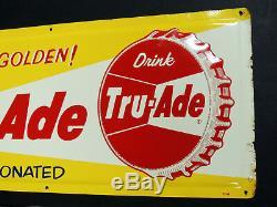 1959 authentic vintage TRU-ADE Soda Embossed Bottle Cap Metal TIN SIGN 12x28