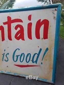 1960s Large Vintage Original Mountain Dew Metal Tin Sign Soda Pop Cafe Parlor