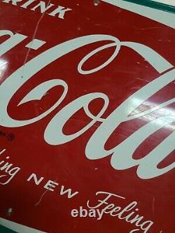 1966 Vintage COCA COLA Old Fishtail Logo & Bottle 32x12 Tin Sign Coke