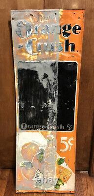#1 Genuine Vintage Embossed Tin 1932 Orange Crush Chalkboard Sign With Crushy