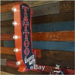 25 Tattoo Metal Wall Decor Vintage Lighted Tin Marquee Home Bar Commercial Sign