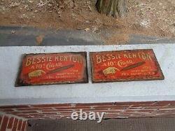 2 Vintage Bessie Kenton 10¢ Cigar Sign H. D Hackman Womelsdorf Pa Tin Tobacco