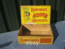 40110 Old Vintage Antique Card Chocolate Bar Wooden Box Tin Sign Rowntree's