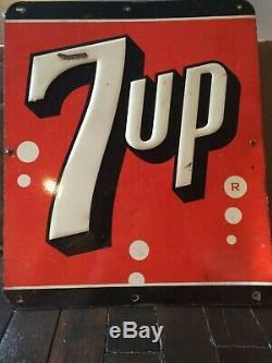 7Up Metal Sign VTG 1950s Tin Embossed Logo Shop Ad Soda Pop