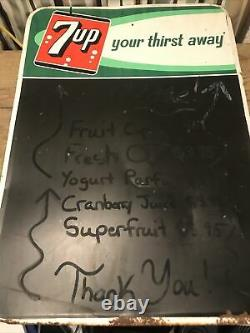 7up Chalkboard Sign Advertising Menu Board Your Thirst Away 19x27 VINTAGE Tin