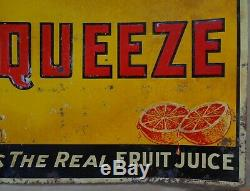 AUTHENTIC VINTAGE ORANGE SQUEEZE SODA TIN SIGN 20x28 JV REED LOUISVILLE