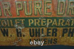 A. D. S Family Remedies For Pure Drugs Advertising Old Tin Vintage Drug Store Sign