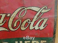 Antique Ice Cold COCA COLA Sold Here Sign Metal Tin Embossed Tacker Circa 1920