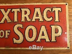 Antique Original Early 1900s Borax Extract Of Soap Early Tin Sign Vintage