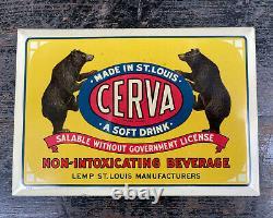 Antique Sign 1920s Cerva Tin Over Cardboard Lemp St Louis MO Bear Beer TOC VTG