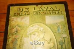 Antique Vintage 1920s De Laval Cream Separators Cow Tin Sign Milk Cream Litho Ad