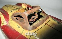 Antique Vintage Play USA Metal Comet Tin Toy Car Automobile Racing Gas Oil Sign