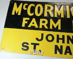 Antique vtg McCORMICK-DEERING Farm Machines DEALER Tin SIGN Miller St Nazianz WI