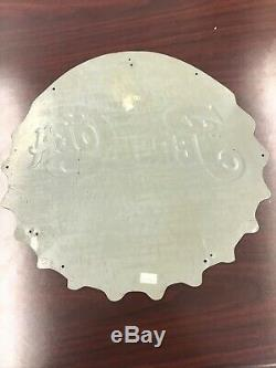 Authentic Vintage Pepsi Embossed Die-cut Tin Bottle Cap Display Sign USA #7934