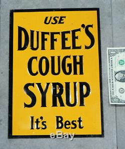 Authentic c1915 TIN SIGN Antique vtg DUFFEE'S Medicine COUGH SYRUP Drops Cold
