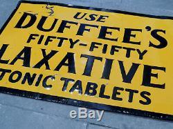 Authentic c1915 TIN SIGN Antique vtg DUFFEE'S Medicine LAXATIVE Tonic Pills