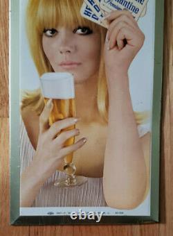 Ballantine Beer Vintage Original 1967 Pinup Tin Advertising Sign / Standup