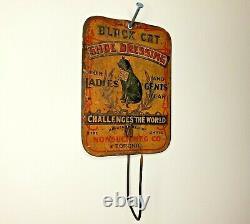 Black Cat Shoe Dressing Bill Hook Vintage Tin Litho Advertising