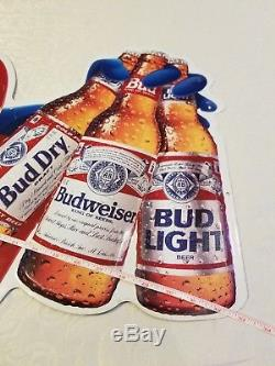 Bud Man Beer Sign Tin Metal Large Vintage 1991 Bud Dry Bud Light Budweiser