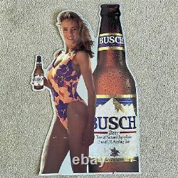 Busch Beer Swimsuit Model Girl Tin Metal Beer Sign Vintage 1992 Very Rare