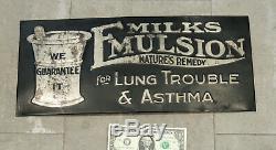 C1910 TIN SIGN Antique vtg Milk's Emulsion ASTHMA Lung Smoking Medicine Drugs