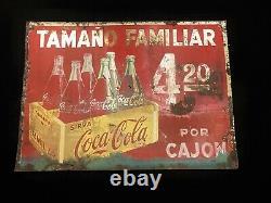 Coca Cola Vintage Unique & Rare Uruguay Advertising Tin Sign Original 1950´s