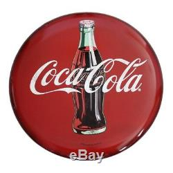 Coca-Cola ollow Curved Tin Button Round Vintage Sign Retro Wall 24 In. X 24 In