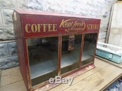 Coffee Service Store Display, Tin Countertop Bin, Vintage Advertising Sign