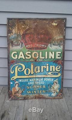 Early Vintage Red Crown Gasoline Polarine Tin Sign