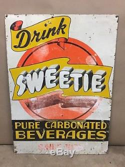 EXTREMELY RARE Vintage DRINK SWEETIE Soda Pop Advertising tin Sign