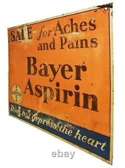 Early 20th C Bayer Aspirin Antique 1920's Litho'd Enamel Tin Advrtsng Metal Sign